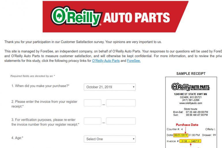 O Reilly Auto Parts Survey