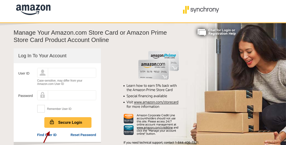 Amazon Store Credit Card Secure Login
