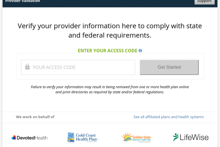 Provider Validation