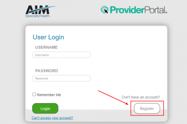 Log in to AIM Provider Account