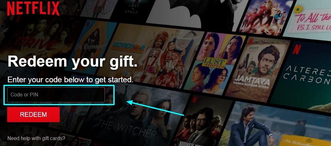 Redeem Netflix Gift Online With PIN