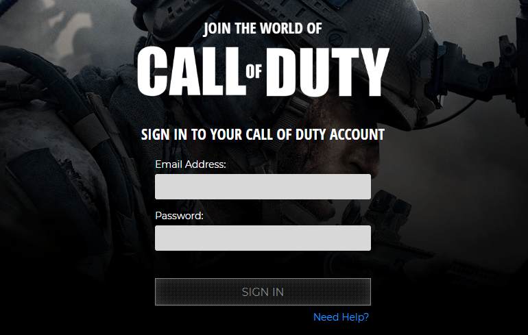 sign up with Call of duty