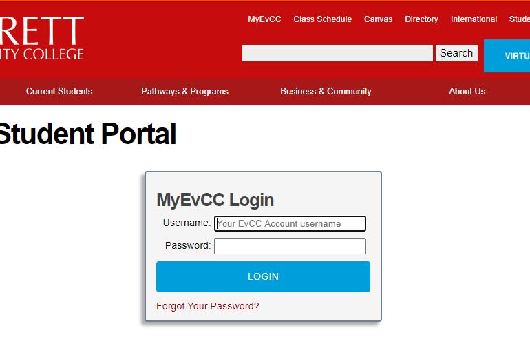 Myevcc login