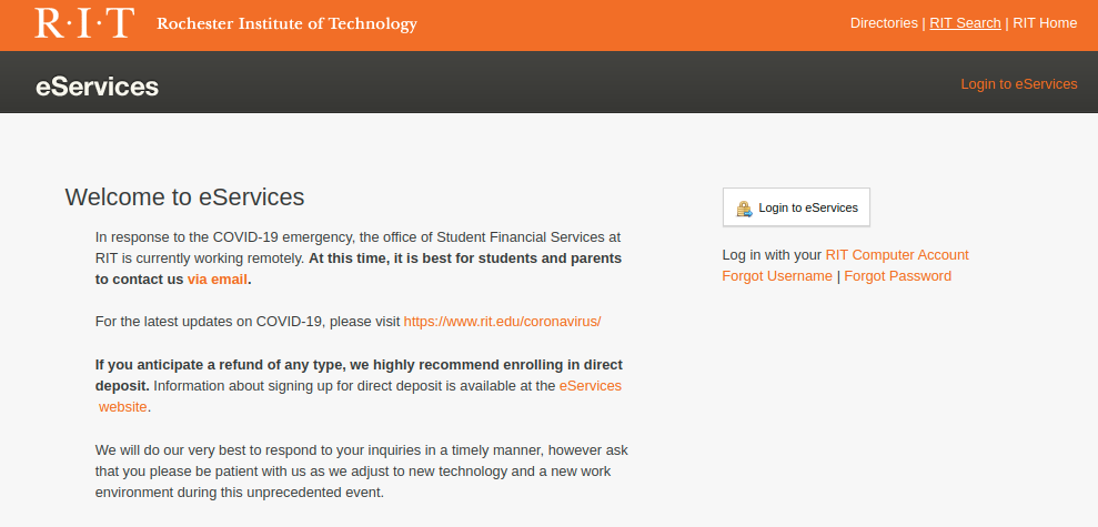 eServices Rochester Institute of Technology Login