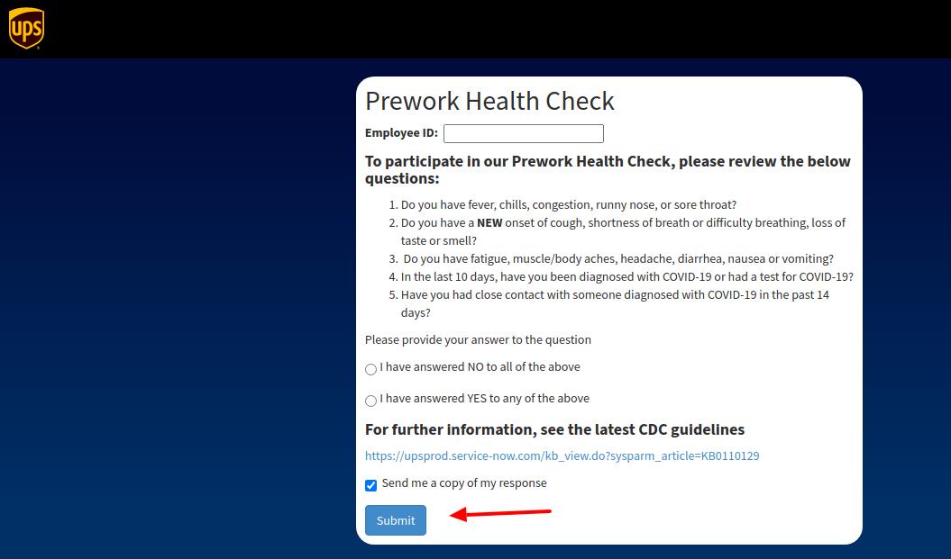 ups employee health check