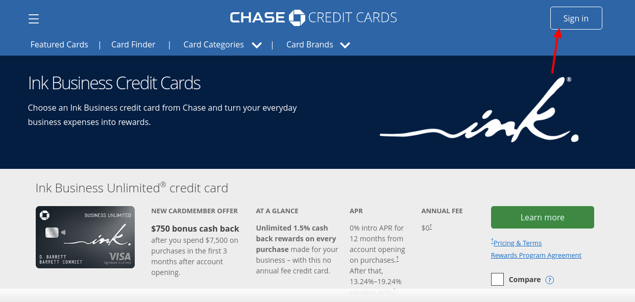 getchaseink credit card login